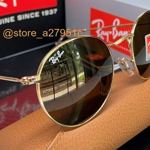 Ray-Ban NEW Round Metal Brown Lens / Gold Frame
